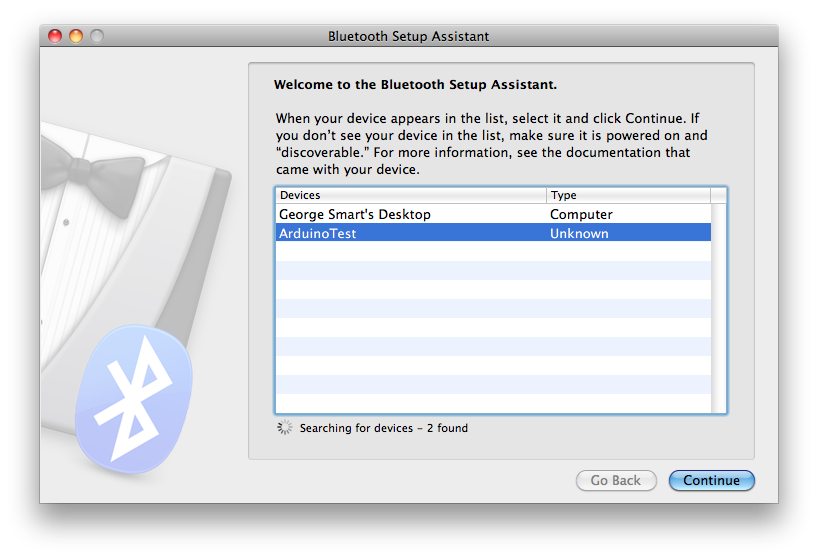 Pairing to ArduinoTest in OS X