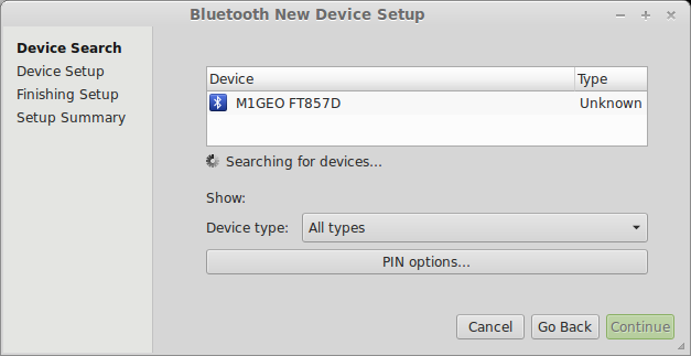Bluetooth Programming Terminal Configuration