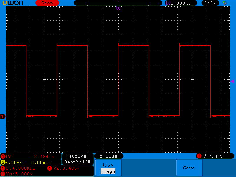 5V TTL heartbeat signal of the 9,600 Hz sample rate (4,800 x 2)