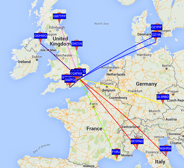 mcHF Map from WSPR