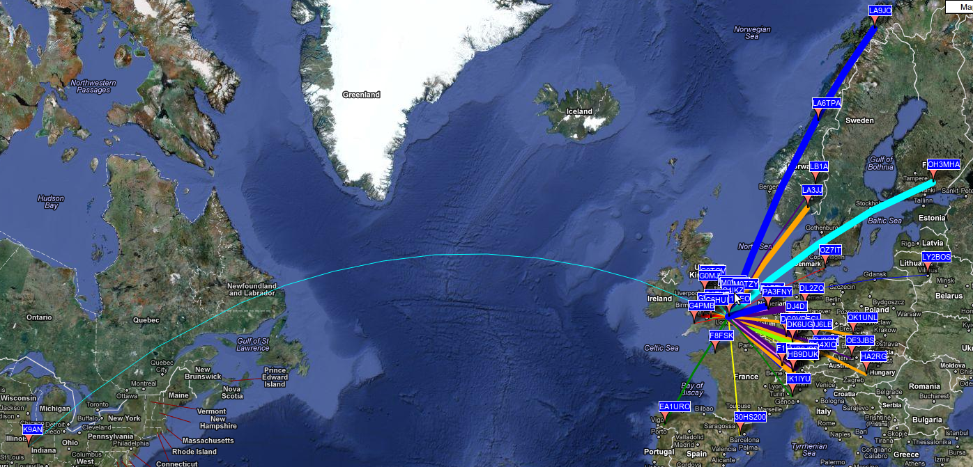WSPR Reception Map