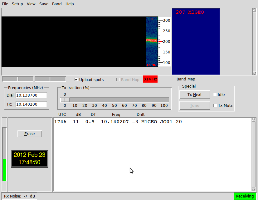 WSPR Reception of First Attempt!