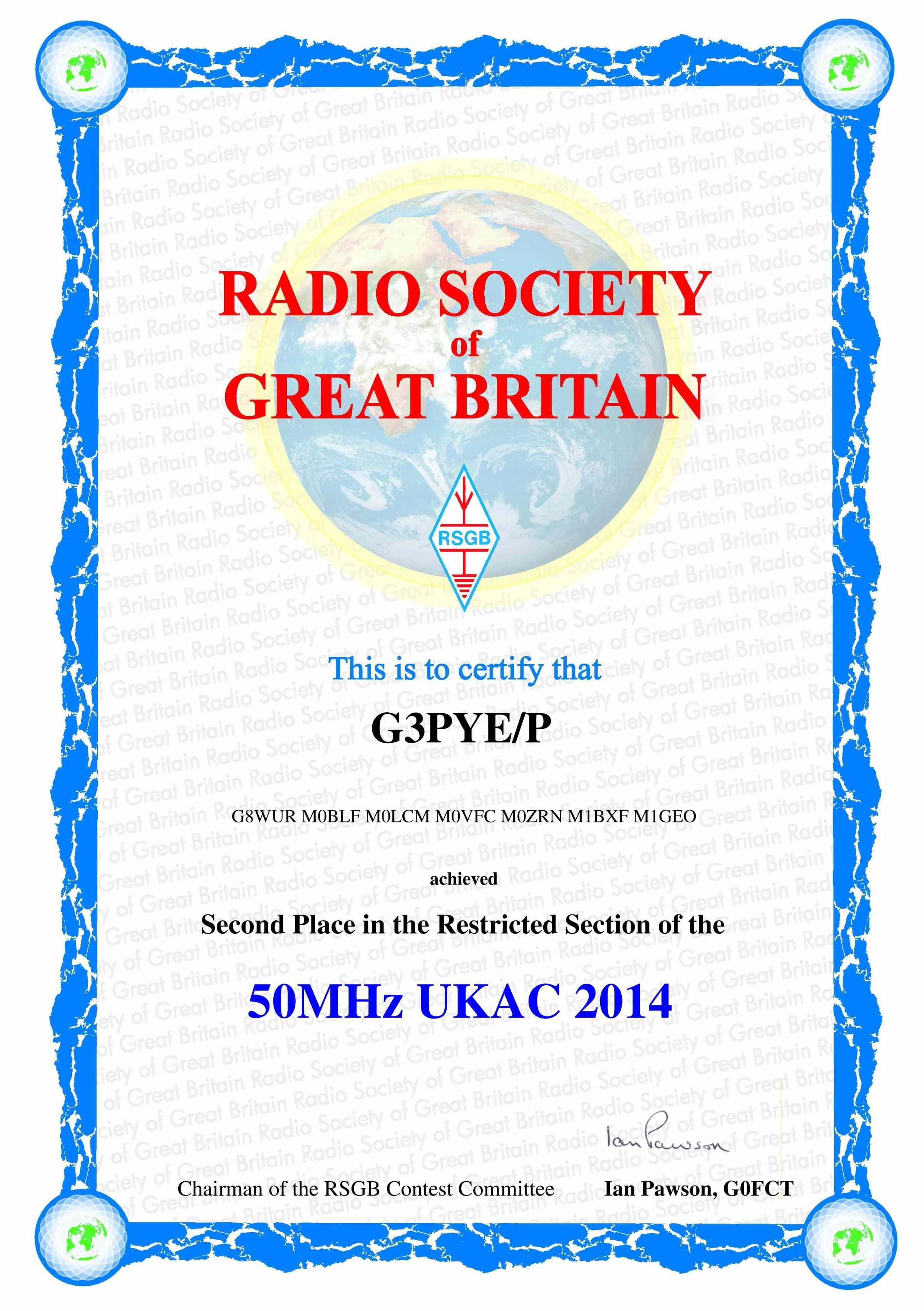 G3PYE/p 50 MHz UKAC 2014
