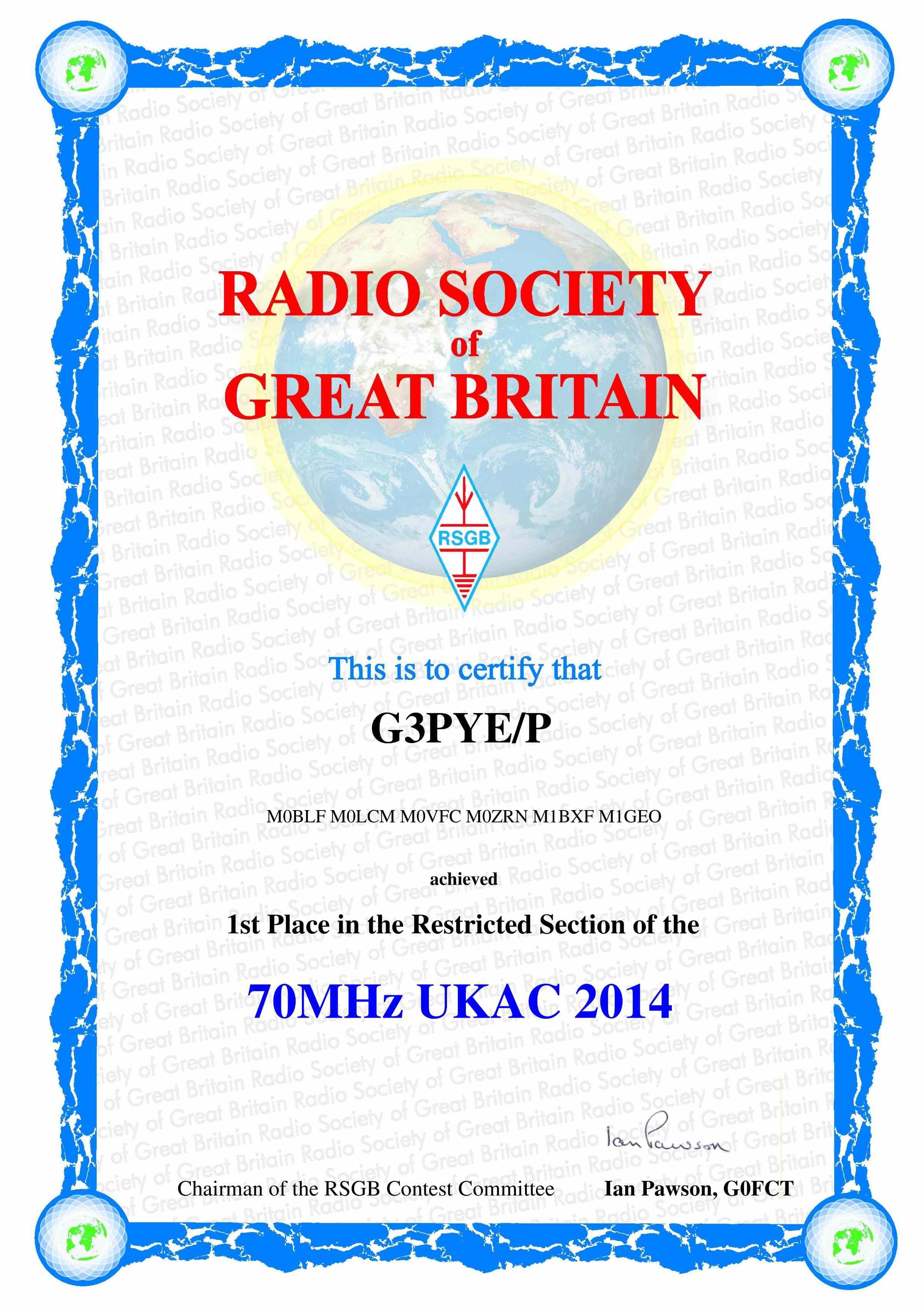 G3PYE/p 70 MHz UKAC 2014