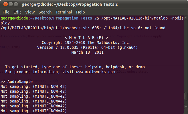 MATLAB running in a terminal window