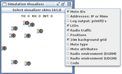 Cooja Simulation Visualiser Options