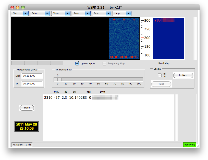 WSPR 2.21 running on Mac OS 10.6