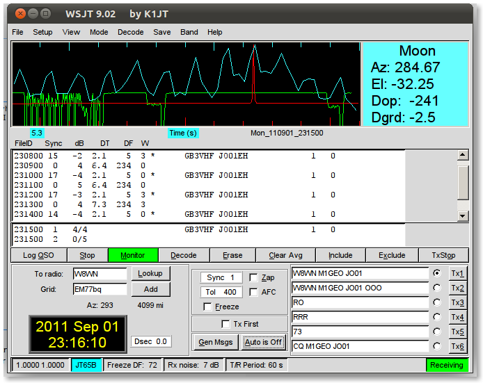 WSJT receiving GB3VHF via JT65B