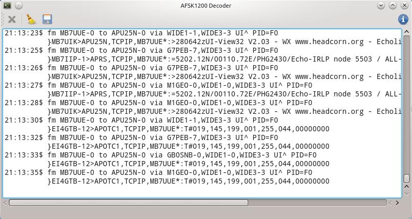 GQRX AFSK1200 Decoder Running