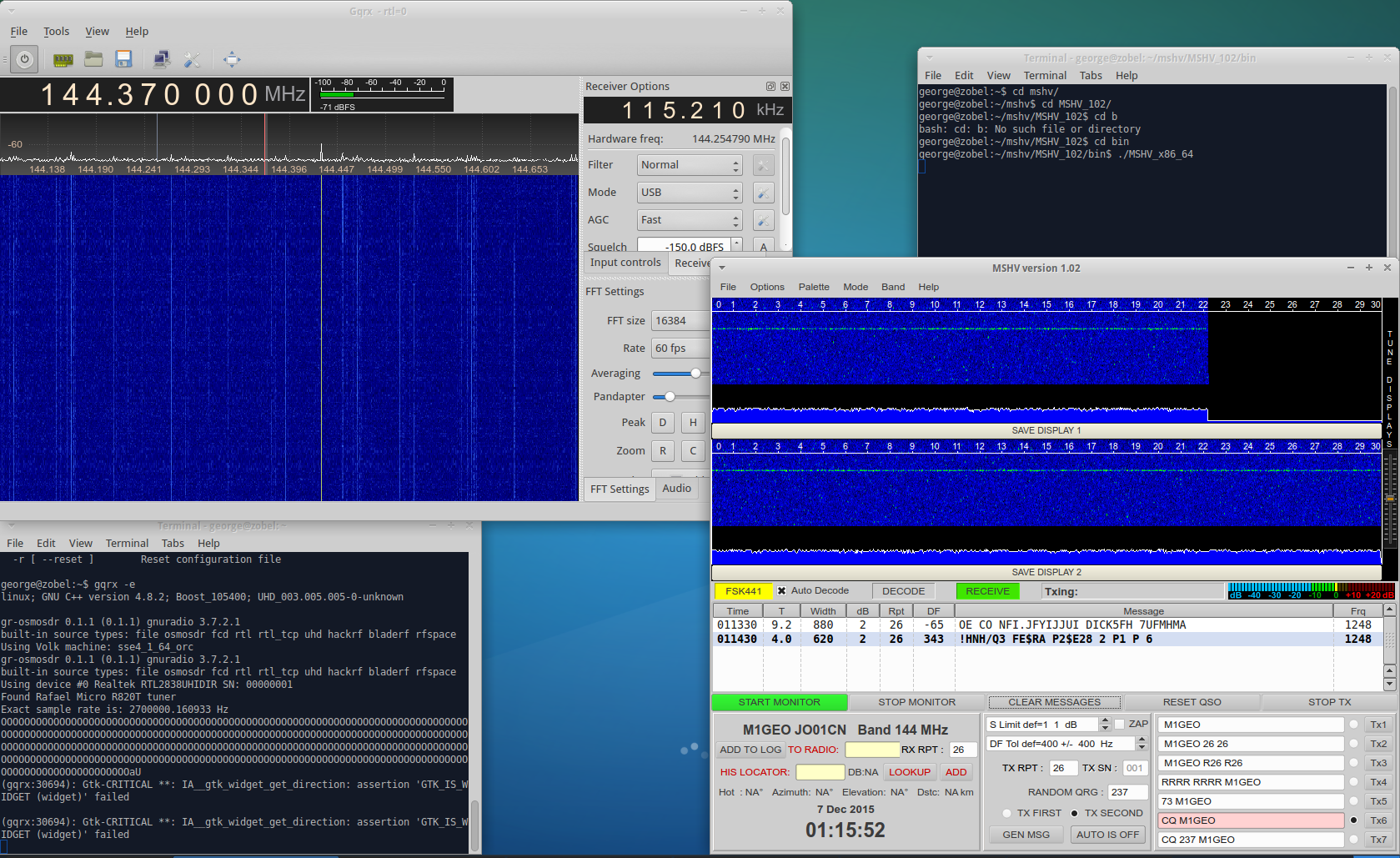 MSHV running RTL-SDR