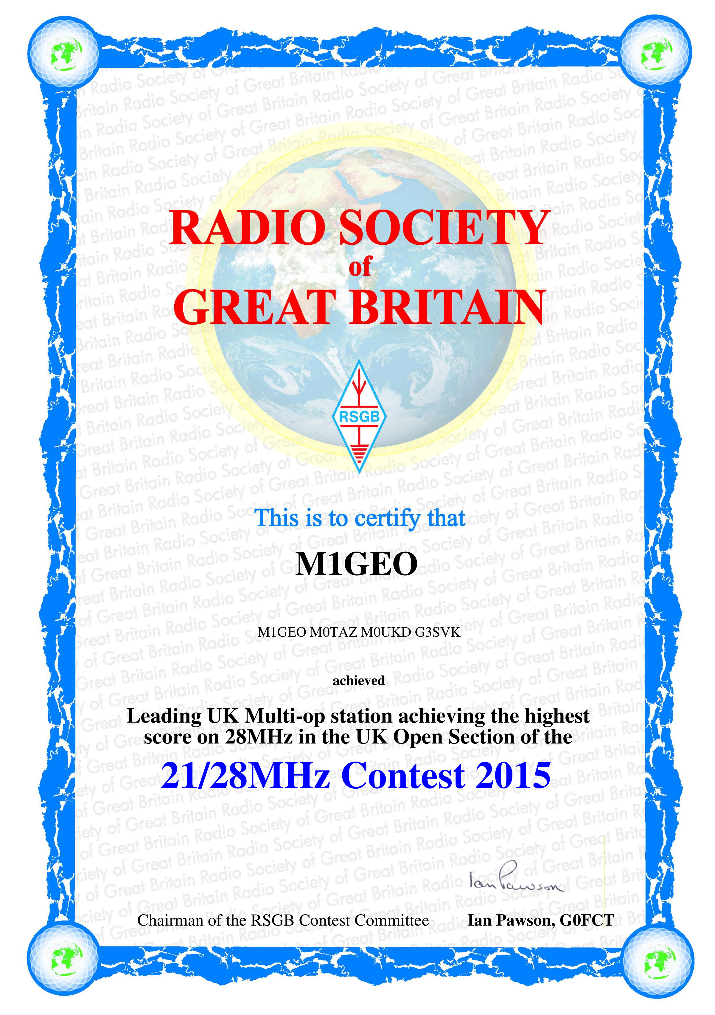 Powditch Trophy: Leading UK Multi-op station achieving the highest score on 28MHz