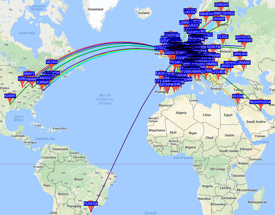 Red Pitaya WSPR Map