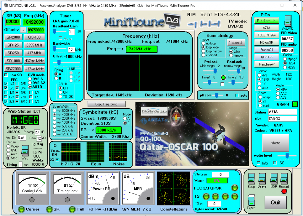 Receiving Es'Hail-2 GeoSat – George Smart – M1GEO